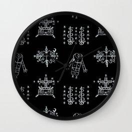 Papa Legba + Baron Samedi + Gran Bwa + Damballah-Wedo Voodoo Veve Symbols in Black Wall Clock