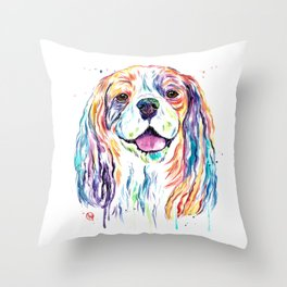 Cavalier King Charles Spaniel - Colorful Watercolor Painting Throw Pillow