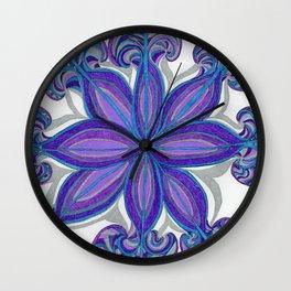 Bloom in Aqua & Purple Wall Clock