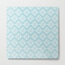 Decorative Pattern in White and Blue Metal Print
