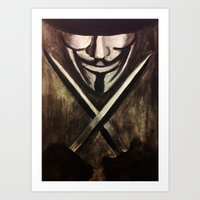vendetta Art Prints featuring VENDETTA by The Traveling Catburys