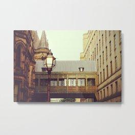 Pedestrian tunnel bridge between buildings in Manchester   UK Travel Photography Metal Print