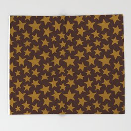 Chocolate Doodle Stars Throw Blanket