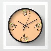 tigger Art Prints featuring Tigger clock by BlackBlizzard