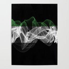 UAE Smoke Flag on Black Background, UAE flag Poster
