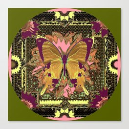 Ornate Mauve Swallow Tailed Butterfly Yellow-Khaki Design Canvas Print