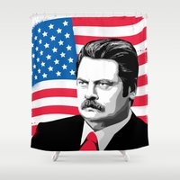 ron swanson Shower Curtains featuring RON SWANSON Quote#5 by Michelle Eatough