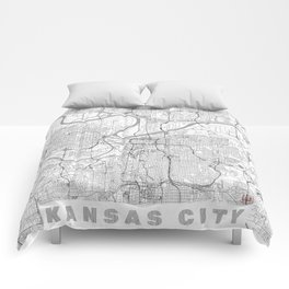 Kansas City Map Line Comforters