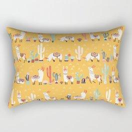 Happy llama with cactus in a pot Rectangular Pillow