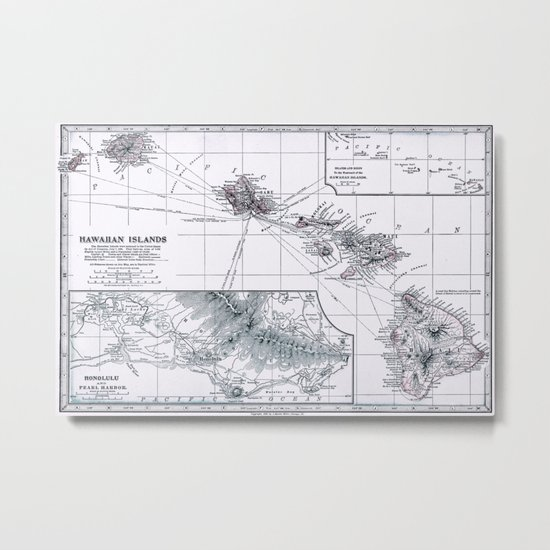 Vintage Hawaii Map 1899 Metal Print