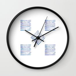 Rough stripes in blues Wall Clock