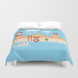 Santa Claus deliver presents on Christmas Eve Duvet Cover