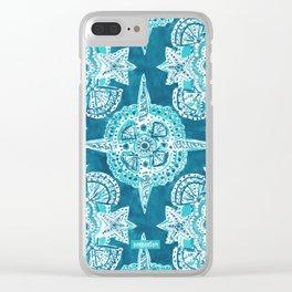 INNER MERMAID COMPASS Blue Nautical Mandala Clear iPhone Case