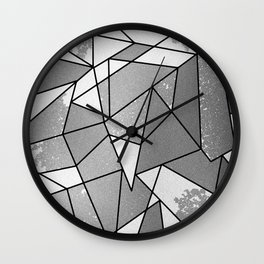 Cool Modern Black Gray Distressed Geometric Pattern Wall Clock