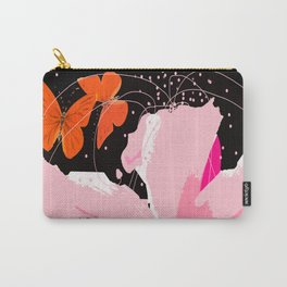 Creativity play - butterflies and flowers on a black background Carry-All Pouch