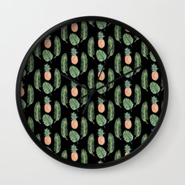 PINEAPPLES AND LEAVES BLACK Wall Clock