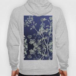 Dark Indigo Blue Wild Flowers Floral Abstract Hoody