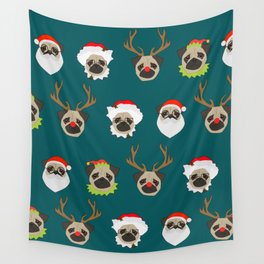 Christmas Pug Pattern Wall Tapestry