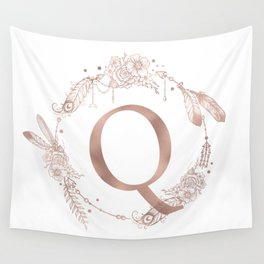 Letter Q Rose Gold Pink Initial Monogram Wall Tapestry
