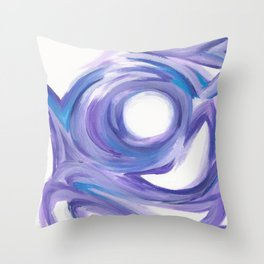 Wind on the City --  Abstract painting in modern lavender purple with hints of bright blue Throw Pillow