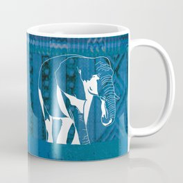 Elephant blue African textile Coffee Mug