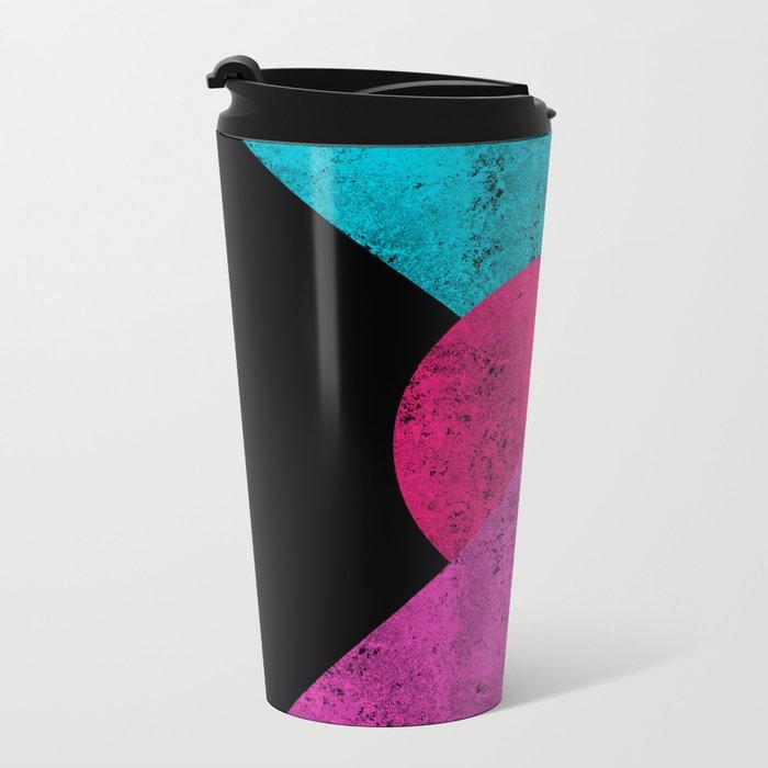 Colorful Abstract Geometric Background Metal Travel Mug