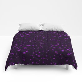 Blueberry iridescent drops and petals on a black background in nacre. Comforters