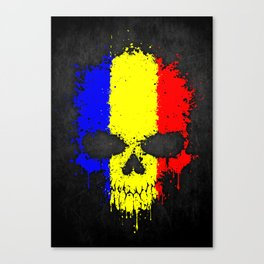 Flag of Romania on a Chaotic Splatter Skull Canvas Print