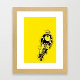 'Racing for Yellow' Cycling Poster Framed Art Print