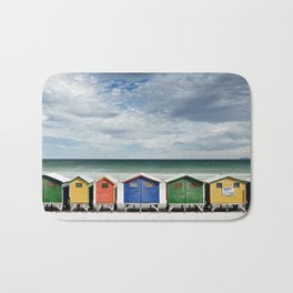 Beach Huts - Colorful houses and Sea, Cape Town, South Africa Bath Mat