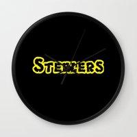 steelers Wall Clocks featuring Steelers by Judy Palkimas