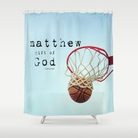 scripture Shower Curtains featuring Matthew Scripture Name Art by KimberosePhotography