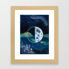Quarter Moon Original Mixed Media Painting Framed Art Print