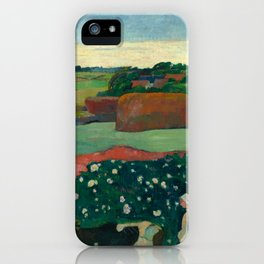 "Paul Gauguin ""Les meules ou Le Champ de pommes de terre or Haystacks in Brettany"" iPhone Case"