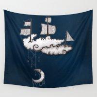 ship Wall Tapestries featuring SHIP by Jumanaah Hiasat