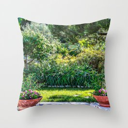 Mediterranean bush in southern Italy during summer Throw Pillow