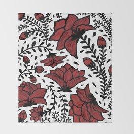 Red Flower Garden Throw Blanket