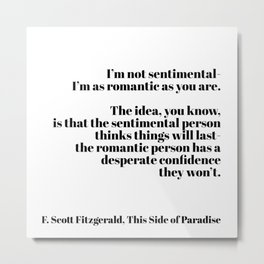 thi side of paradise - Fitzgerald quote Metal Print