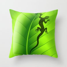 Lizard Gecko Shape on Green Leaf Throw Pillow