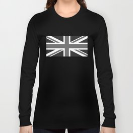UK Flag - High Quality Authentic 1:2 scale in Grayscale Long Sleeve T-shirt