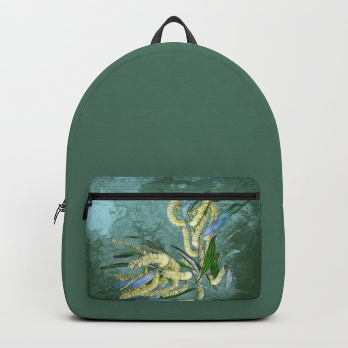 Abstract wattle in blue and green Backpack