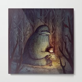 Monster A friend little girl Metal Print