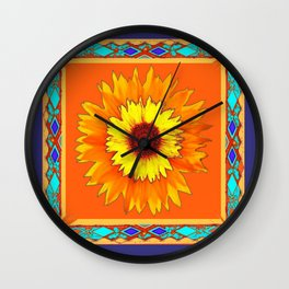 Southwestern Sun Flowers Abstract Design Wall Clock