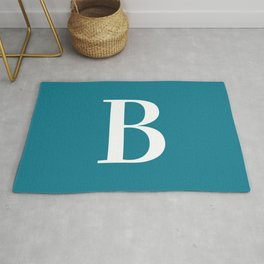 Teal and White Initial Letter B Monogram Rug