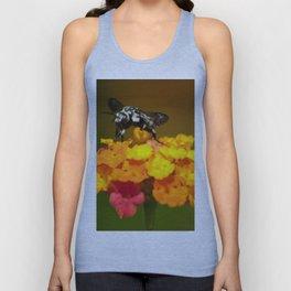 Black bee feeding on yellow flowers Unisex Tank Top