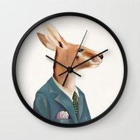 kangaroo Wall Clocks featuring Kangaroo by Animal Crew