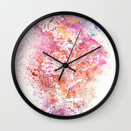 Flowers Illustration Art Wall Clock