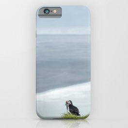 Puffin overlooking the black beach at cape Ingolfshofdi | Travel photography Iceland iPhone Case