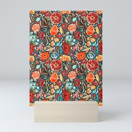 Bright Red and Cyan Scruffy Small Scale Floral Mini Art Print