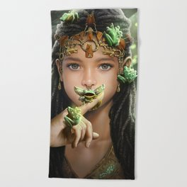 The princess and the frogs Beach Towel